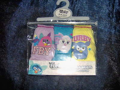 3 Pair Pack Girls Beautiful Furby Briefs  - Ages 4/5 - 5/6 - 7/8 Years