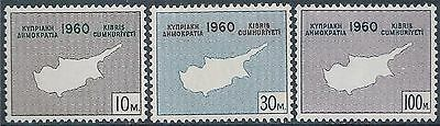 CYPRUS - GREEK - 1960 Declaration of Independence Set of 3, Mint LH