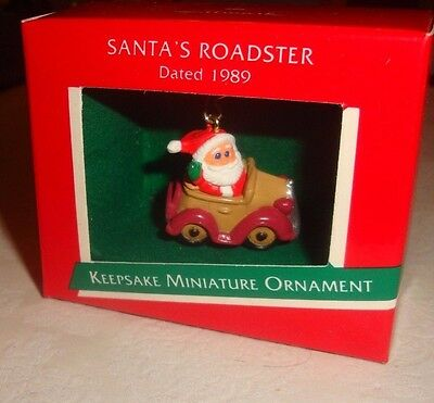 "Hallmark Keepsake ""santa's Roadster"" Miniature Santa Claus Ornament - Nib"
