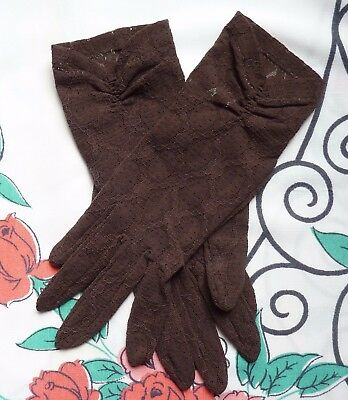 Vintage Pair Of Dark Brown Lace Gloves~Ruched Cuffs~