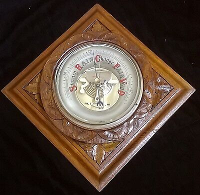 VINTAGE hand-carved oak Blackforest barometer; works well.