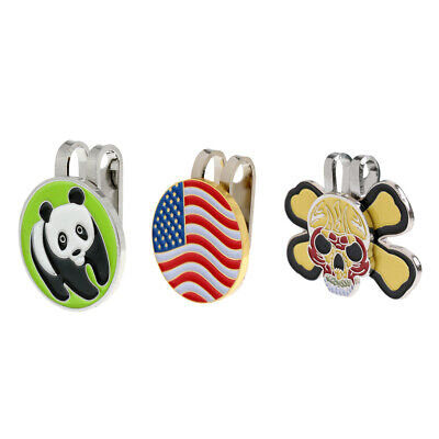 Pack of 3 Pieces Magnetic Hat Clip Golf Ball Markers Clip On Golf Cap Visor
