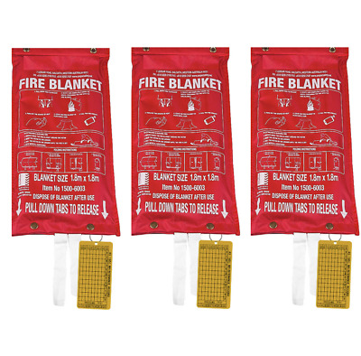 3 x Fire Blankets 1.8M x 1.8M - Industrial Kitchens, Workplace AS/NZS 3504 2006
