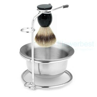 Men Badger Hair Shaving Brush Stainless Steel Stand and Stainless Bowl Mug Set