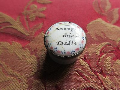 Battersea 1780-90 Enamel Pill Box, Painted / Accept this Trifle