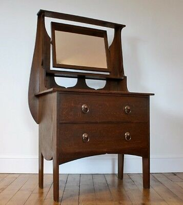 Arts & Crafts Oak Dressing Table with Mirror