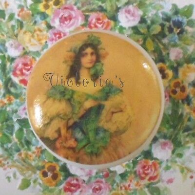 FRENCH LADY Ceramic knob drawer door cabinet pull office room bath VICTORIAN