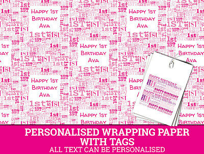 Personalised Happy 1st Birthday Wrapping paper - Pink Baby's 1st Gift Wrap