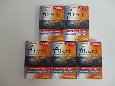 5 Alteril Fast Acting Natural Sleep Aid - 30 Softgels - Exp: 2/18+ Dn 364