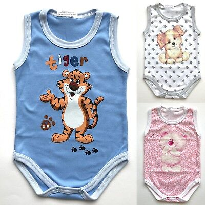 0 - 24 Months  BABY BOY GIRL SLEEVELESS BODYSUITS BABYGROWS  100%COTTON