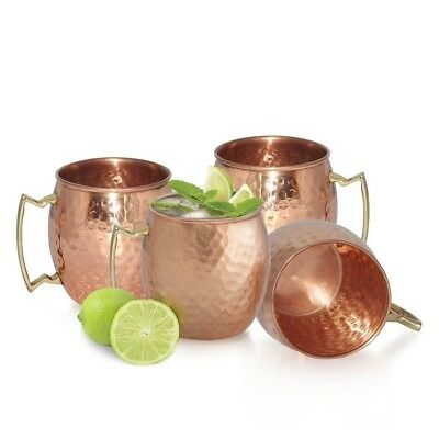 4Pcs Handmade Hammered Moscow Mule Mug Copper-plated Brass Handle Cup Bar