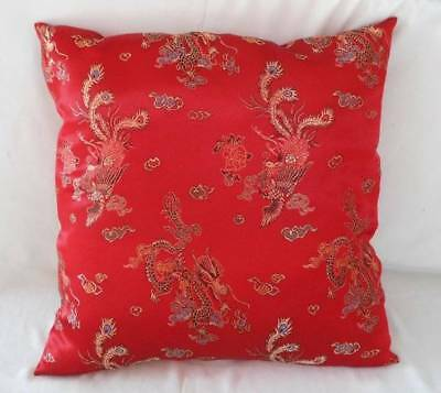 Vintage Red Silky Satin Brocade Throw Pillow Chinese Embroidery Dragon Peacock