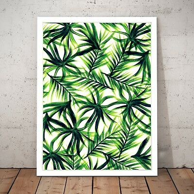 Palm Leaves Art Nouveau Green Art Poster Print - A4 to A0 Framed