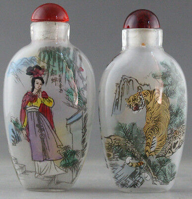A098/ 2 pcs Rare Chinese Internal Hand Painted tiger and girl Glass snuff bottle