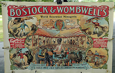 Bostock & Wombwell's World Renowned Menagerie poster @1900; super, rare!