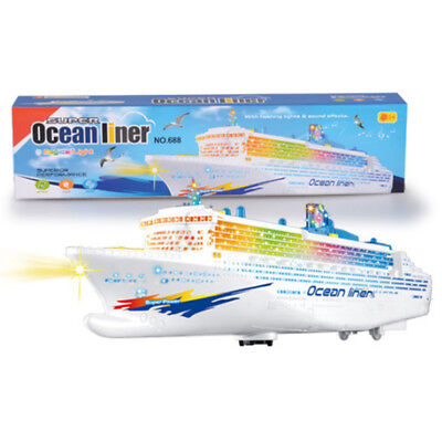 Electronic Ocean Liner Simulation Toys Flashing Whistle Music Battery Operation