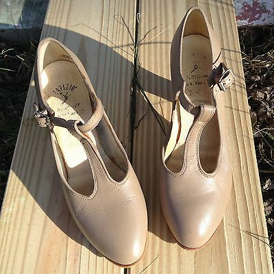 Capezio Dance Shoes W/ T-Strap Beige Leather Size 6 w/ added suede bottoms!!