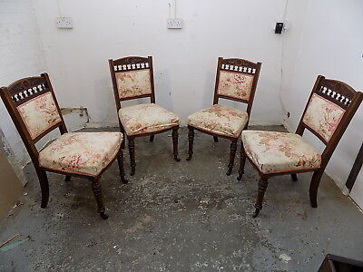 four,antique,edwardian,dining chairs,turned legs,chairs,sprung,dining room,seat