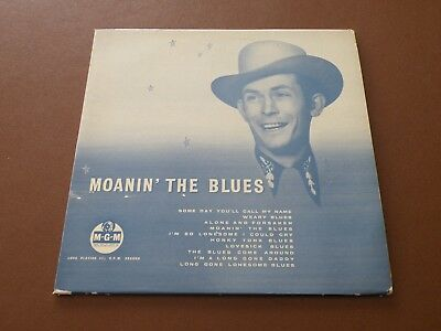"""Hank Williams Moanin' The Blues 10"""" Lp Uk Mgm 1959 Mono First Pressing"""