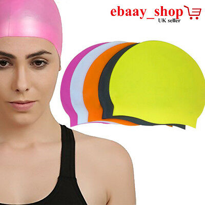 Swimming Skull Cap Hat Easy Fit Adult Women Men Unisex 100% Silicon Water Proof