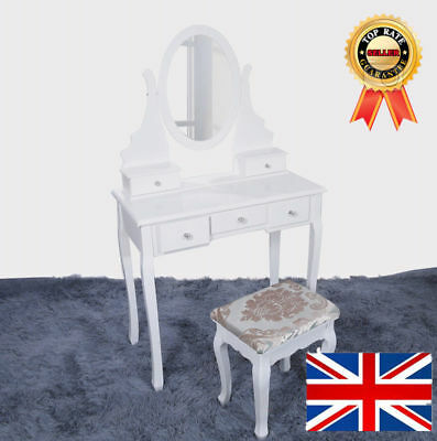 Dressing Table Makeup Desk with Stool 5  Drawers and 360° Spin  Mirror White