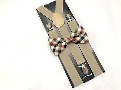 TAN SUSPENDER and Plaid BOW TIE Matching SET Tuxedo Wedding Suit US SELLER
