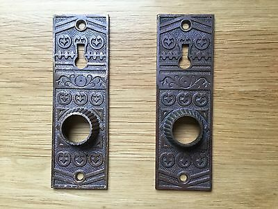Pair Vintage Victorian Bronze Brass Backplates NEW Photos!