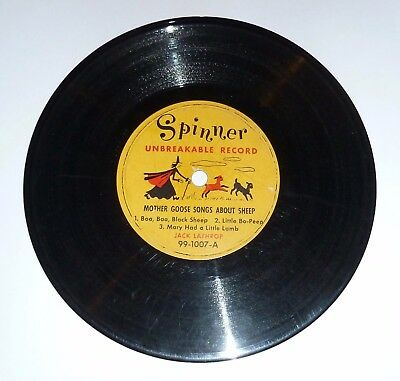 VINTAGE 1950's *MOTHER GOOSE SONGS ABOUT PIGS & SHEEP* KIDDIE 78RPM RECORD