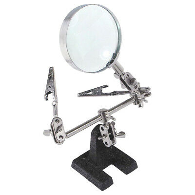 Easy-carrying Helping Third Hand Tool Soldering Stand w 5X Magnifying Glass V3J9