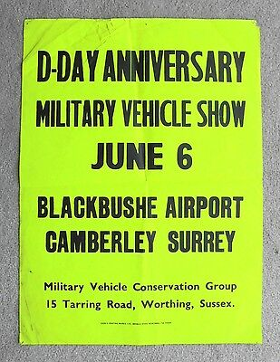 1970s MILITARY VEHICLE CONSERVATION GROUP poster BLACKBUSHE AIRPORT D-DAY SHOW