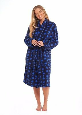Women's new thick fleece hooded dressing gown Blue star design with belt BNWT
