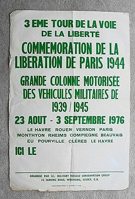 1976 MILITARY VEHICLE CONSERVATION GROUP poster LIBERATION OF PARIS TOUR