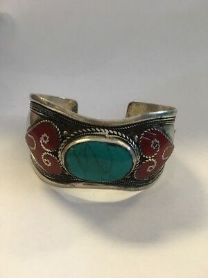Tibetan Turquoise Bracelet Pewter Adjustable Cuff Fairtrade Handmade Nepal B12