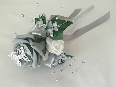 Wedding Flowers Ivory Rose Bouquet Bridesmaids flower -Girl grey red purple blue