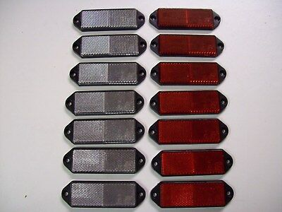 14 rectangular clear/red  Reflectors for Trailers/Fencing/Posts/Gates/Driveways
