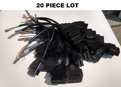 16 Pin J1962 OBD2 OBDII OBD Female Connector Cable Plug Pigtail - 20 PIECES USA