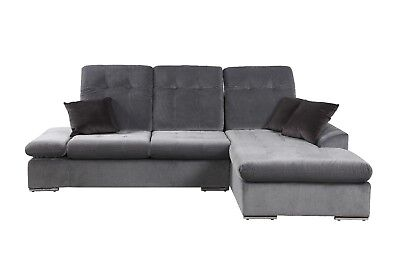 Modern Microfiber Sectional Sofa With Chaise L Shape Couch Dark Grey