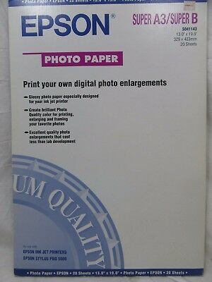 NEW Epson Photo Paper (13x19 Inches, 20 Sheets)  Super A3/Super B