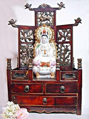Carved Chinese Petit Altar Chest Buddhist Shrine Cabinet