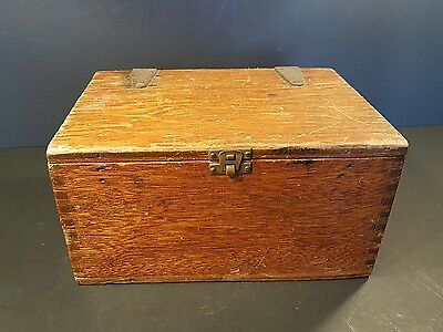 Vintage Wooden Box with big metal hinges & clasp