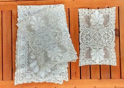 Vintage Ornate Handmade Knotted Filet Lace Matching Placemats Table Runner Set