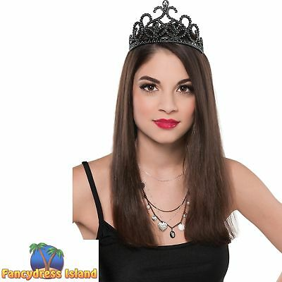 BLACK PRINCESS SWAN CROWN DARK PROM QUEEN - ladies womens fancy dress