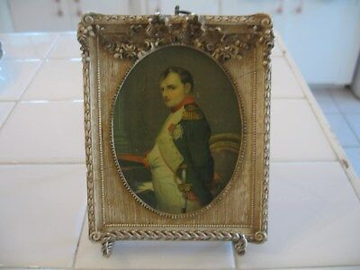 Beautiful Vintage Ornate Barbola Frame With Bow & Roses With Print Of Napoleon