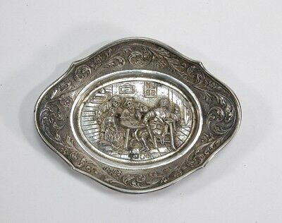 1937 Dutch 833 Silver Repousse Scenic Nut Dish ~ Amsterdam