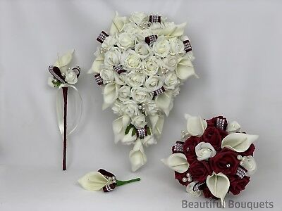 Wedding Flowers Ivory Burgundy Rose Calla Lily Bouquets Bride