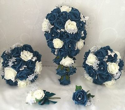 Wedding bouquets teal ,Rose butterfly bouquet Bride Bridesmaid, Flower-Girl Wand