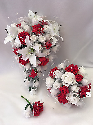 Wedding Flowers Ivory Rose Star lily Bouquet, Bride, Bridesmaid, Flower-Girl