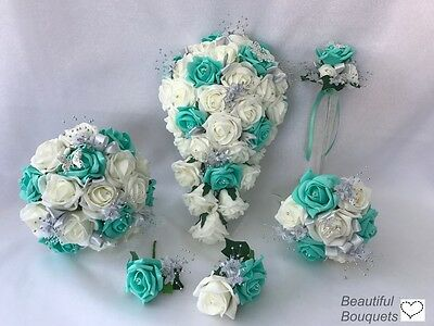 Wedding Flowers Ivory Rose Butterfly Bouquet Bride Bridesmaid Posy Girl Wand