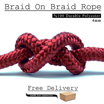 RED Polyester Braided Rope Nylon Cord Heavy Duty Extra Strong Polyester 4 mm