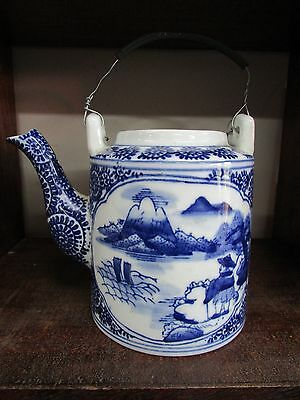 Antique Hand Painted Blue White Artist Signed Japanese Teapot Porcelain China